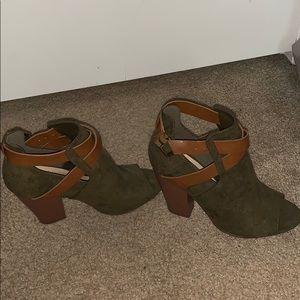 Peep toe ankle booties.